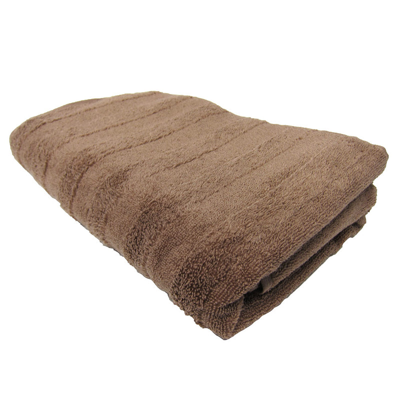 Feather And Stitch Zero Twist Bath Towel, 27x54 Inches, Light Brown