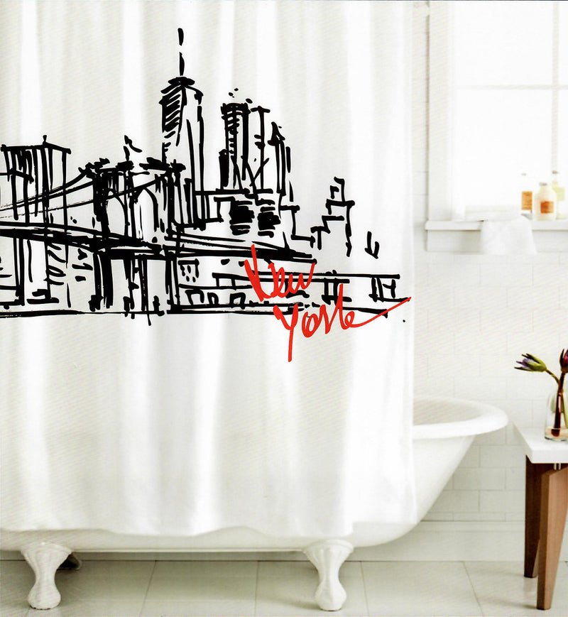 Izola New York City Skyline Fabric Shower Curtain, Black-White, 72x72 Inches
