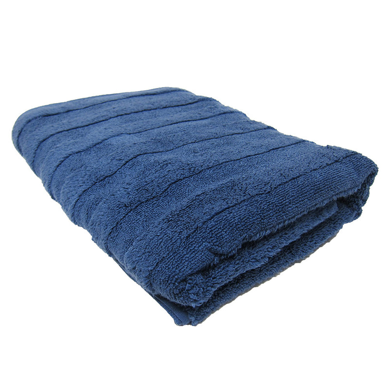 Feather And Stitch Zero Twist Bath Towel, 27x54 Inches, Light Navy