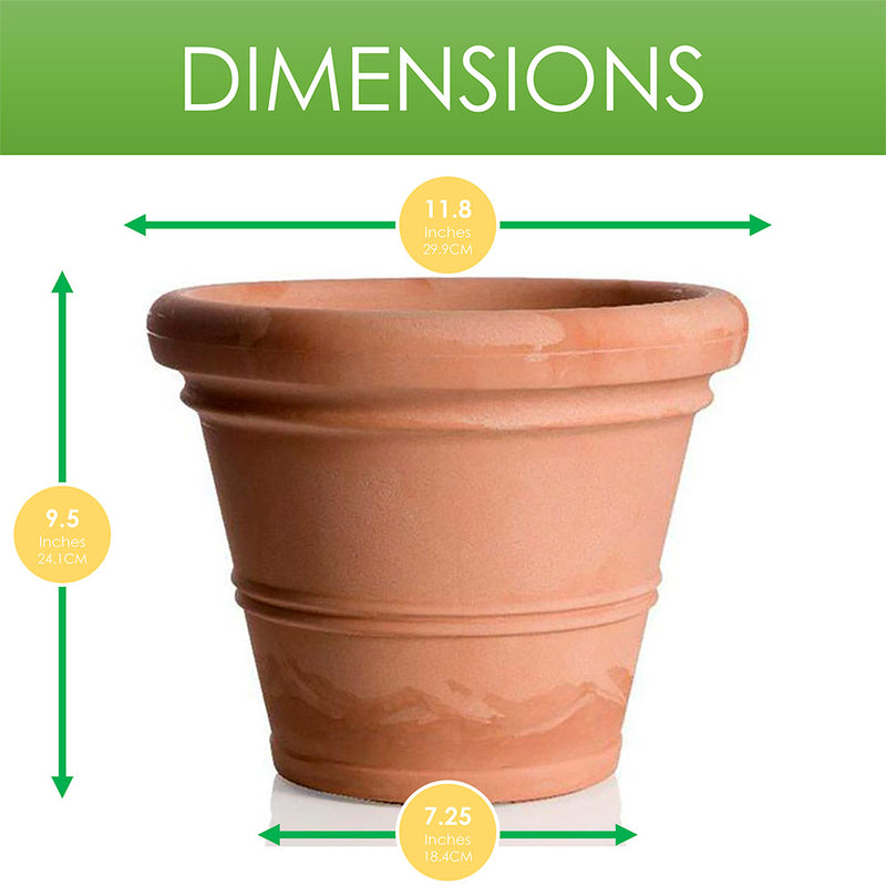 Chianti UV-Protective Resin Planter Pot, Terracotta, 9.5x11.8 Inches