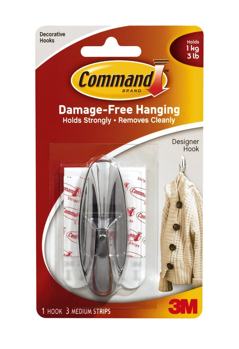 Command 3m Medium Strips Designer Hanging Hook - Chrome