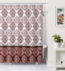 Ashur Damask Embossed Microfiber Shower Curtain, Burgundy Red, 72x72