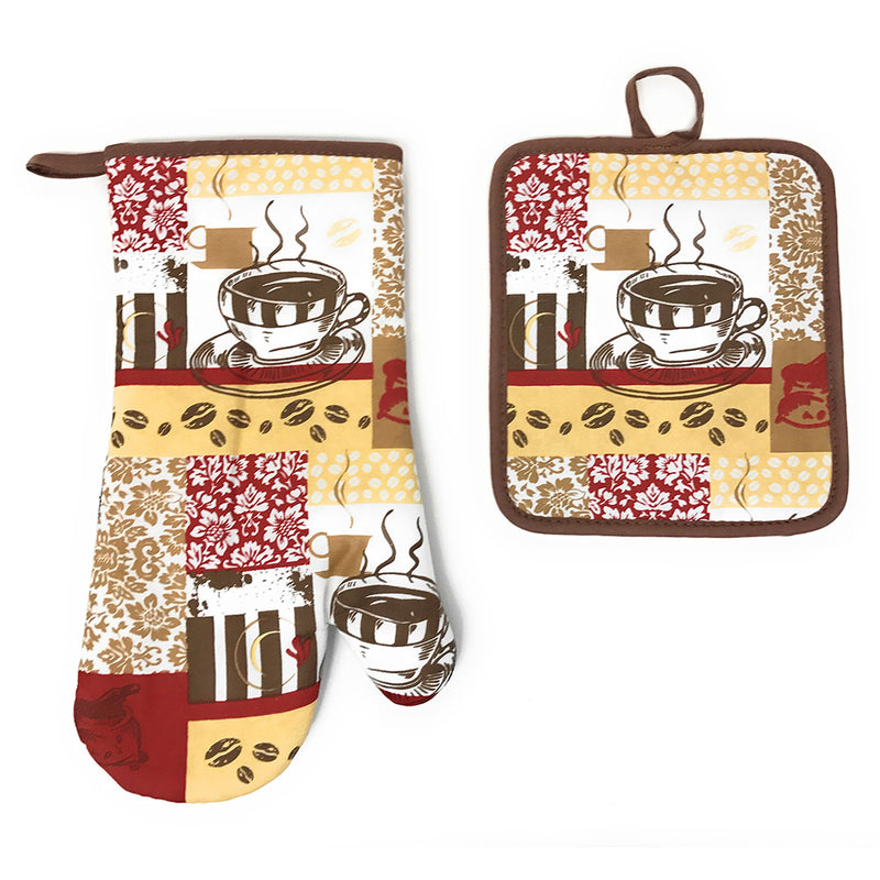 Kitchen Collection Damask Coffee Cup Neoprene Oven Mitt And Potholder Set, Chocolate