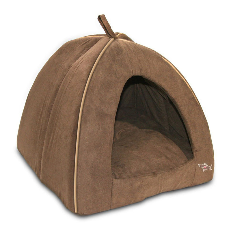 Best Pet Tent Bed For Dogs And Cats, Suede Brown, Large 18x18x16 Inches