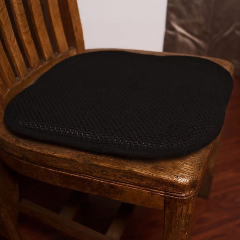 Honeycomb Memory Foam Non-slip 2-piece Chair Pad Set, Black, 17x16 Inches