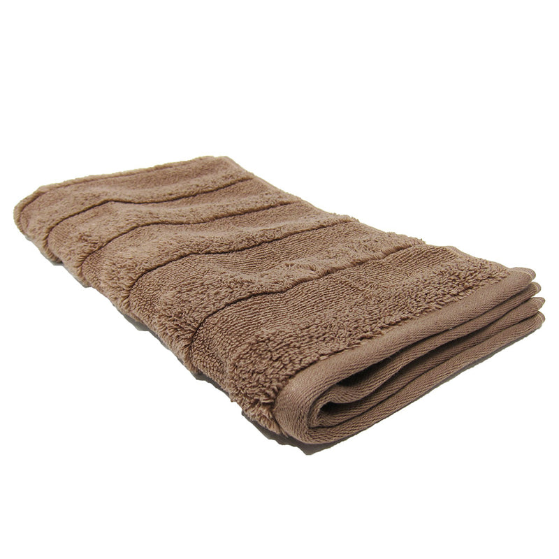 Feather And Stitch Zero Twist Hand Towel, 16x26 Inches, Light Brown