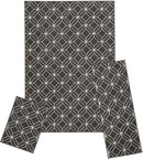 Capri 3-Piece Zara Trellis Design Rug Set, White-Gray, 5x7 Feet