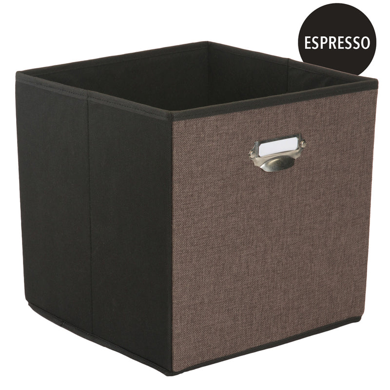 Simplify Collapsible Storage Cube, Espresso, 12.8x12.8x12.8 Inches