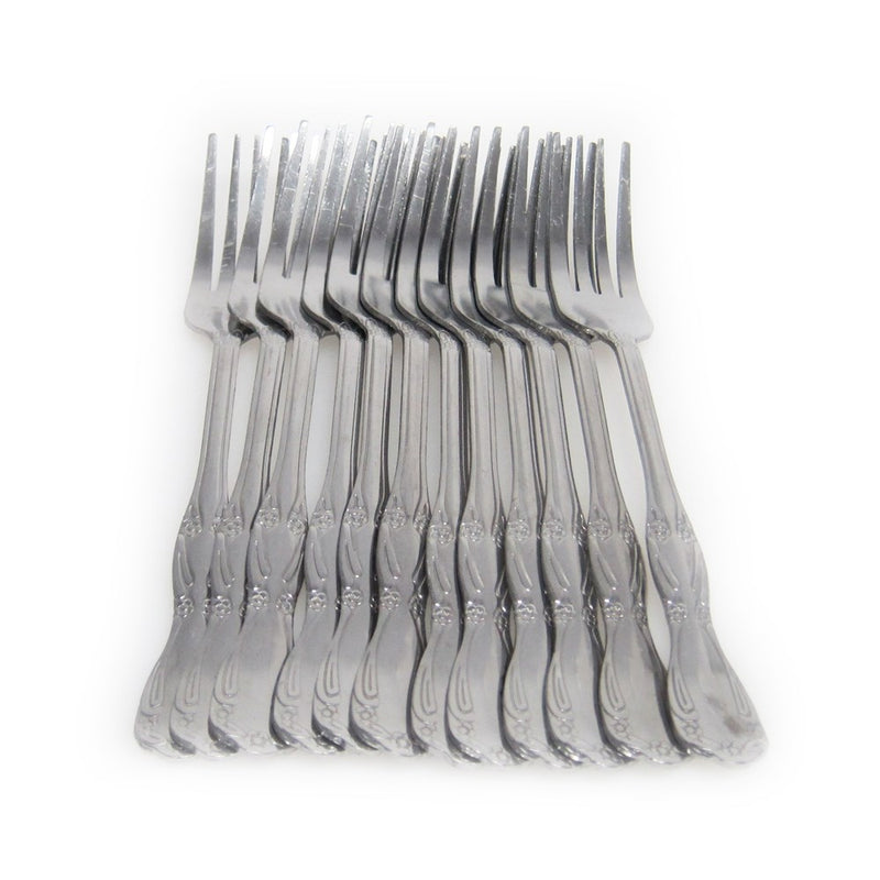 Stainless Steel Heavy Duty Dinner Forks, 8-inches, 12-pack, Silver