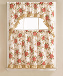 Hope Flower Printed 3-piece Kitchen Curtain Swag & Tiers Set, Beige, 60x36 & 30x36