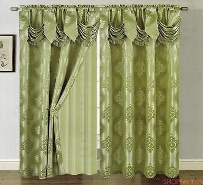 Mulberry Jacquard Panel With Attached Valance & Backing Sage - 54x84+18