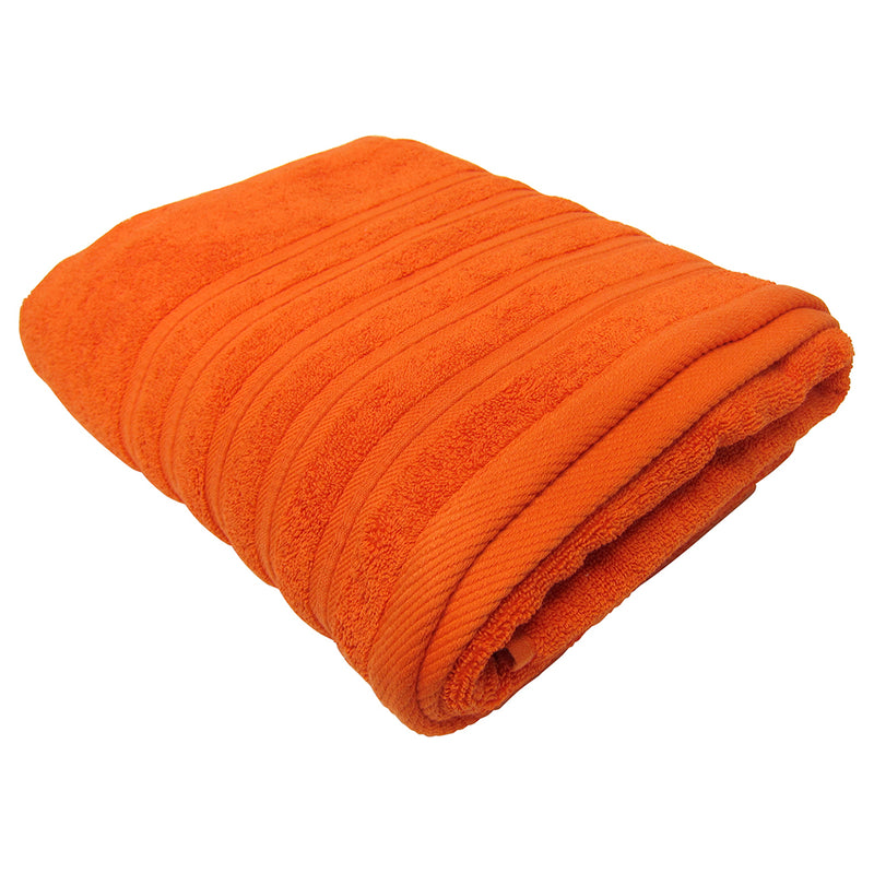 Feather and Stitch 2-Ply Bath Sheet, 32x64 Inches, Bright Orange