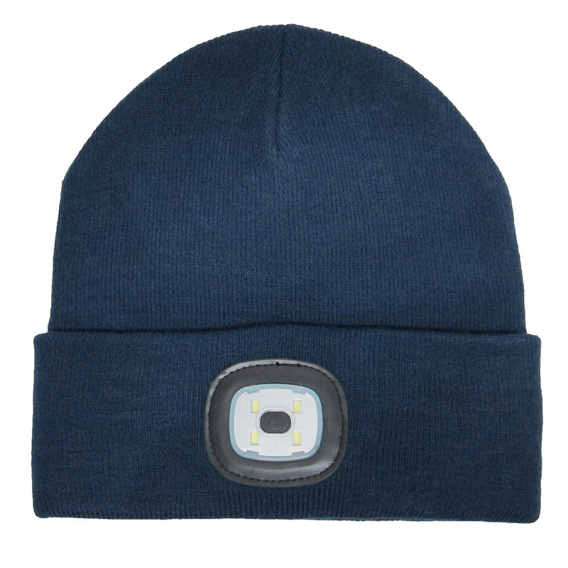 Beamie Hat With Built-in Rechargeable Led Head Lights, Navy