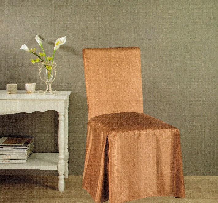Jenny Faux Silk Dining Chair Cover - Taupe