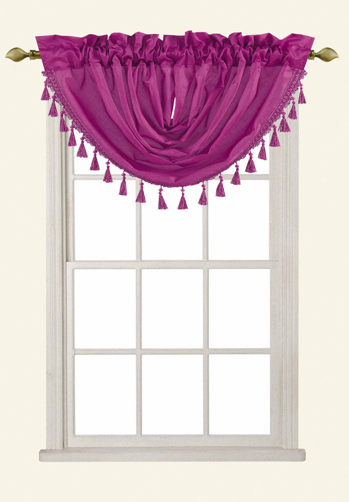 Sabah Faux Silk Rod Pocket Waterfall Valance With Beaded Tassels, Radiant Orchid, 50x37