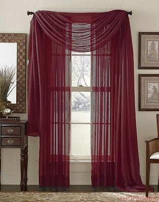 Linda Voile Sheer Solid Window Scarf, Burgundy, 55x216