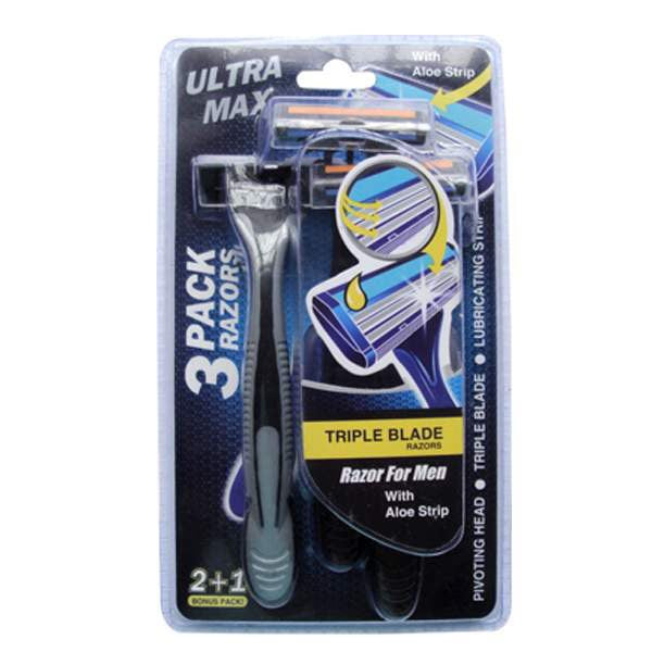 Ultra Max Men's Triple Blade Razors With Aloe Strip - 3 Pack