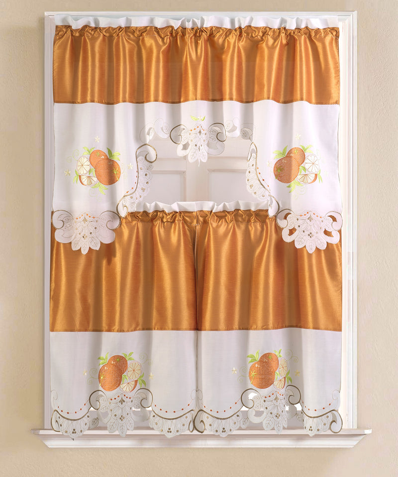 Noble Orange Embroidered Kitchen Curtain Set, Orange, Tier 30x36, Valance 60x36 Inches