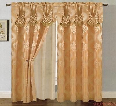 Mulberry Jacquard Panel With Attached Valance & Backing Beige-gold - 54x84+18