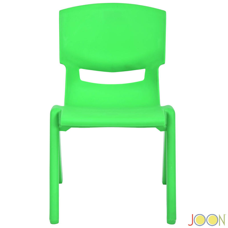 JOON Stackable Plastic Kids Learning Chairs, Green, 20.5x12.75X11 Inches, 2-Pack (Pack of 2)