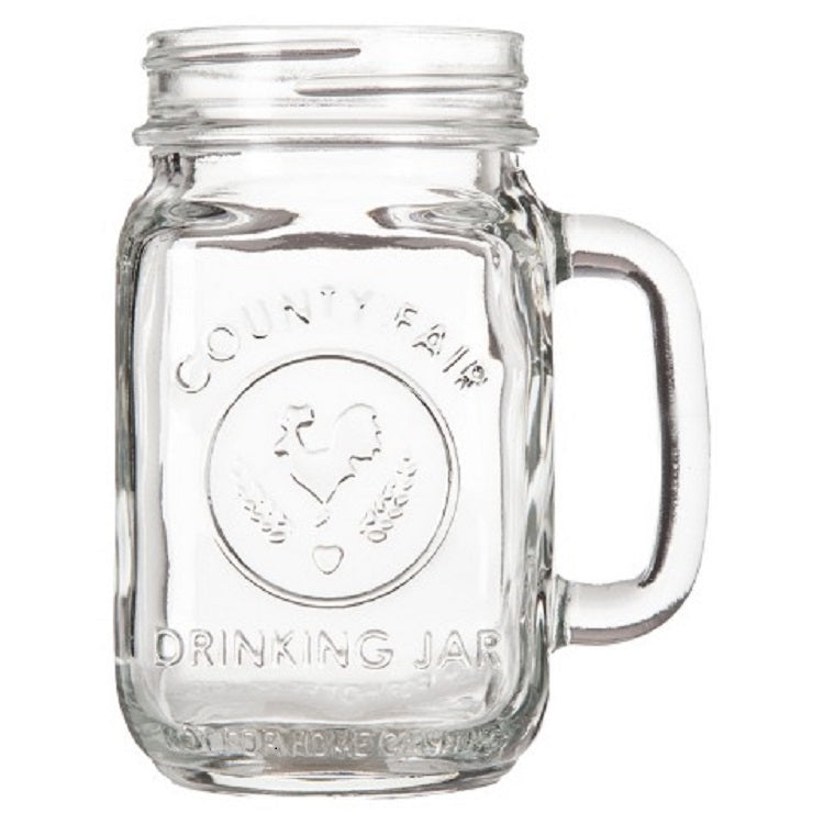 Libbey County Fair Drinking Mason Jar With Handle, Clear, 16 Ounces