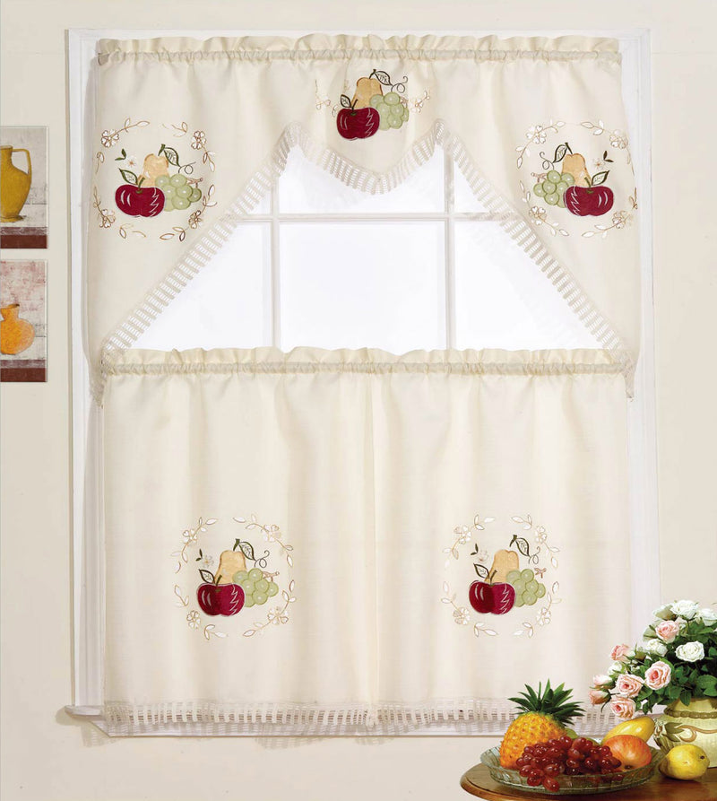 Fruit Frenzy Embroidered Kitchen Curtain Set, Beige, Tier 30x36, Valance 60x36 Inches