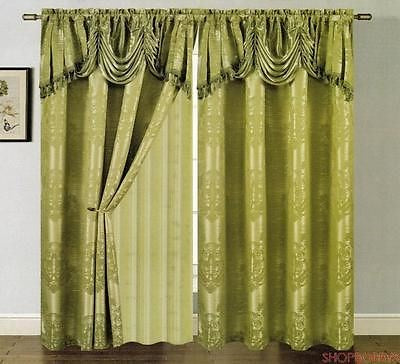 Clinton Jacquard Panel With Attached Valance & Backing Sage - 54x84+18