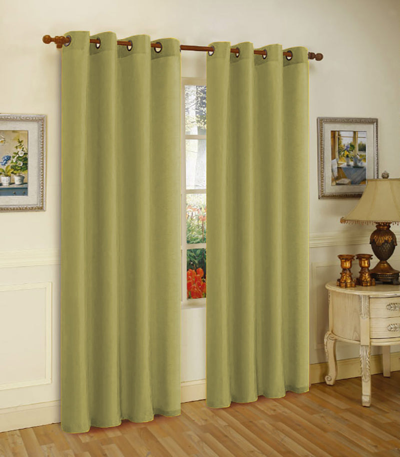 Melanie Faux Silk Panel With 8 Grommets, Olive, 55x63