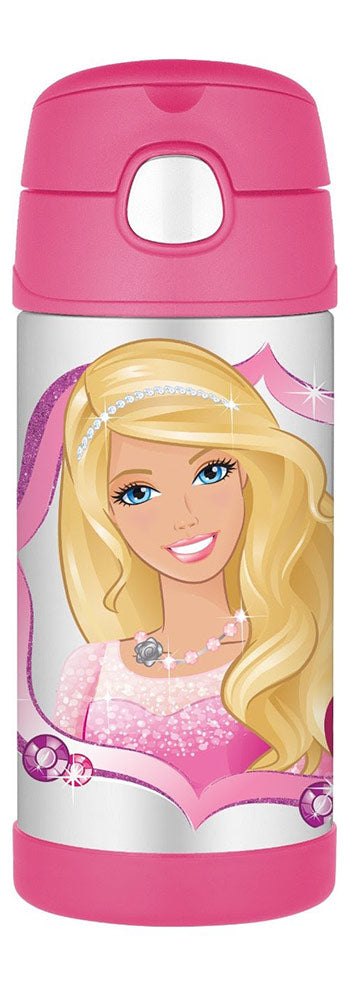 Thermos Barbie Funtainer Bottle With Straw, Pink, 12 Ounces