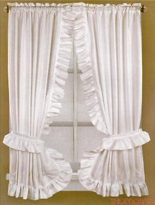 Fabric Dobbie Window Curtain Set White - 36x54