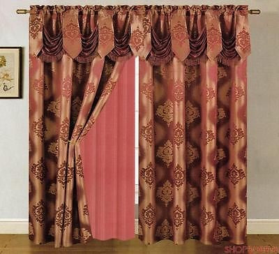 Mulberry Jacquard Panel With Attached Valance & Backing Burgundy - 54x84+18