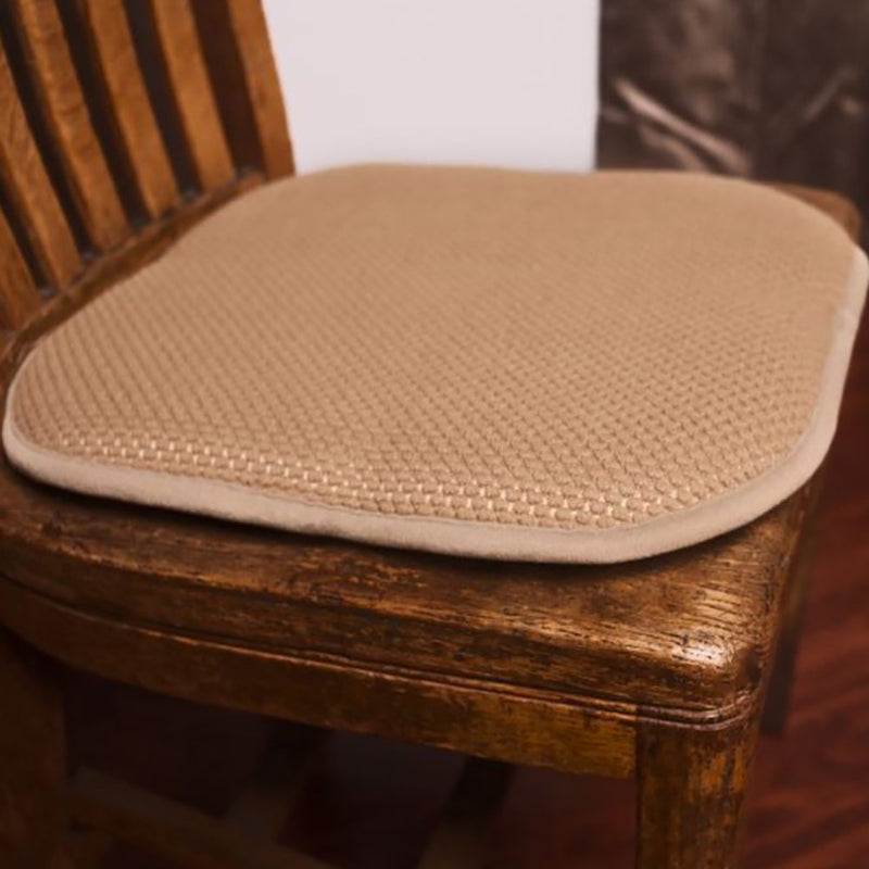 Honeycomb Memory Foam Non-slip 2-piece Chair Pad Set, Linen, 17x16 Inches
