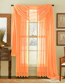 Linda Voile Sheer Solid Window Scarf, Peach, 55x216
