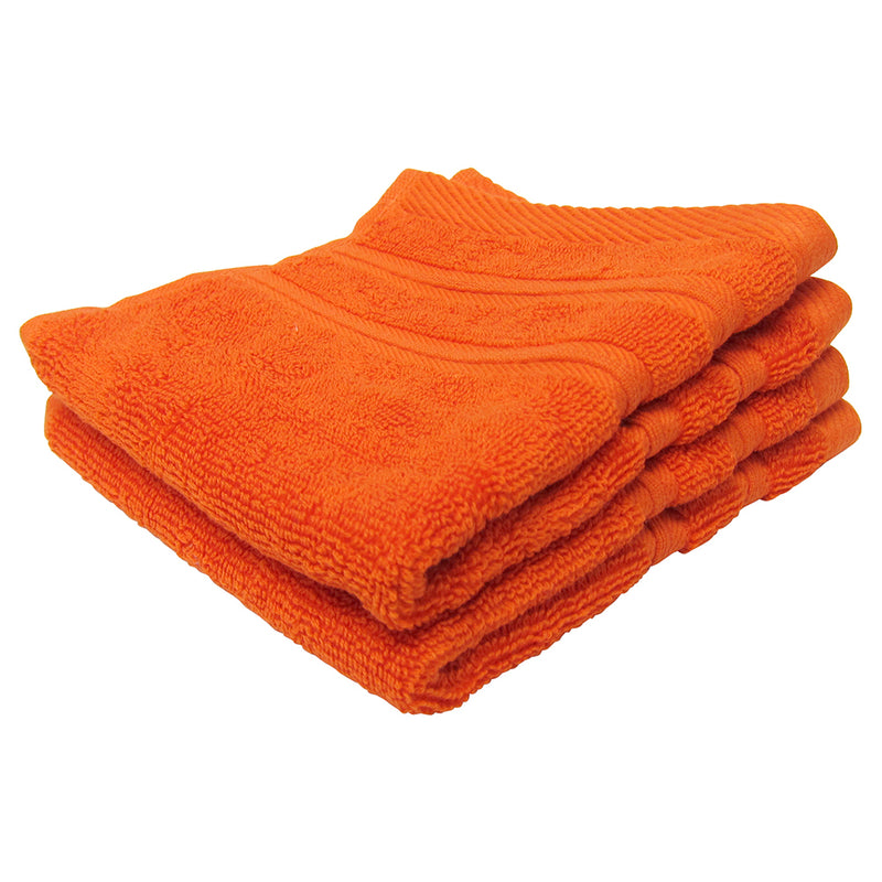 Feather and Stitch 2-Ply Wash Cloth, 2-Pack, 13x13 Inches, Bright Orange