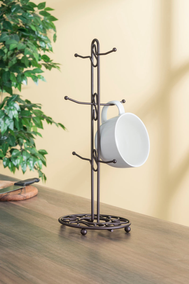 Home Basics Scroll Collection Mug Tree Holder, Rustic Bronze