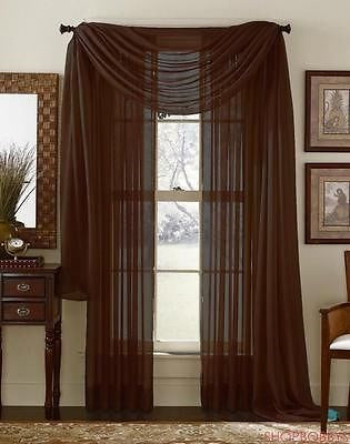 Linda Voile Sheer Solid Window Scarf, Coffee Brown, 55x216