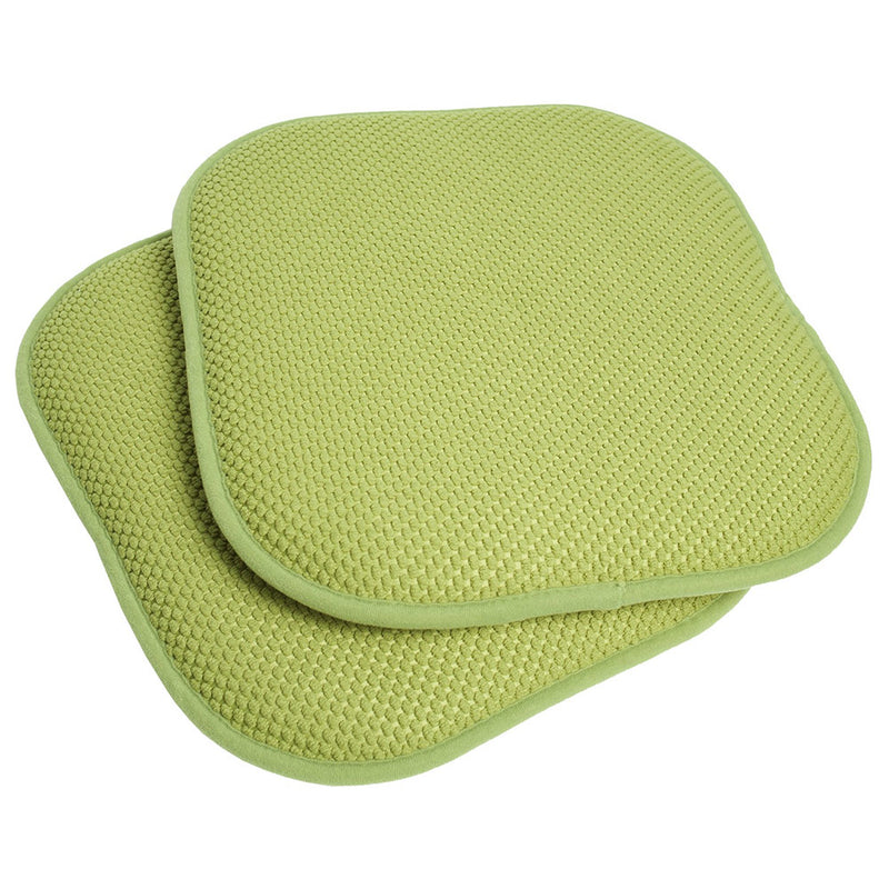 Honeycomb Memory Foam Non-slip 2-piece Chair Pad Set, Green, 17x16 Inches