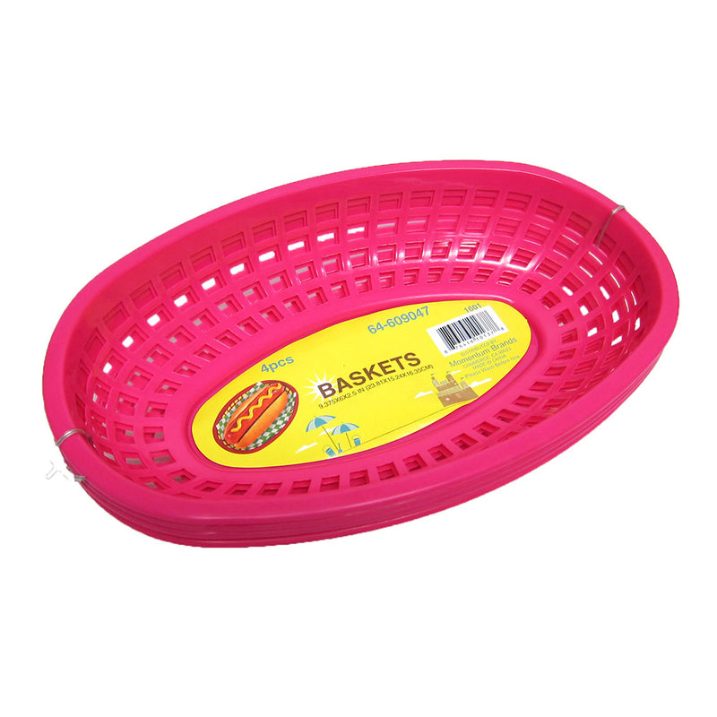 Food Basket For Hamburgers, Hot Dogs, French Fries, Hot Pink, 9.25x5.75x2 Inches, 4-pack