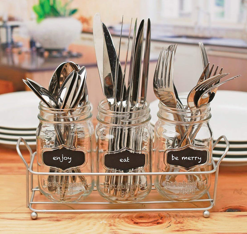 Circleware Trio Grand 4-Piece Cutlery Caddy with Mason Jars and Chalk, Clear