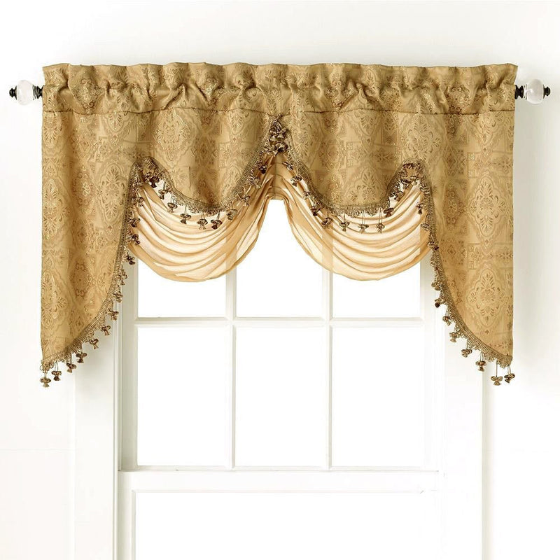 Portofino Jacquard Rod Pocket Valance With Decorative Fringe Gold - 52x28