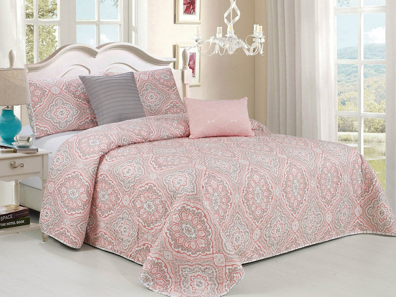 Lusia Oversized 5-Piece Reversible Quilt Set, Pink