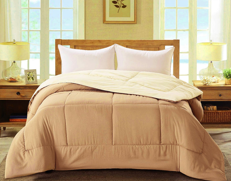 Madison Down Alternative Reversible Comforter, Taupe-Cream