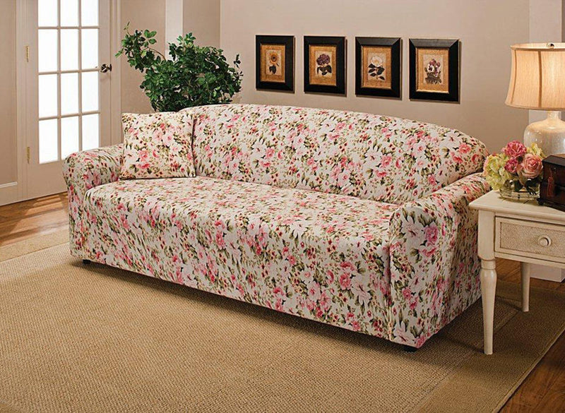 Madison Jersey Stretch Solid Furniture Slipcover, Rose Flower
