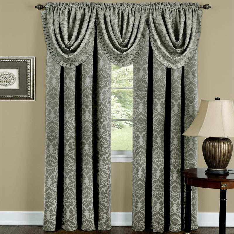 Sutton Medallion Jacquard Rod Pocket Blackout Panel and Valance Treatments, Green