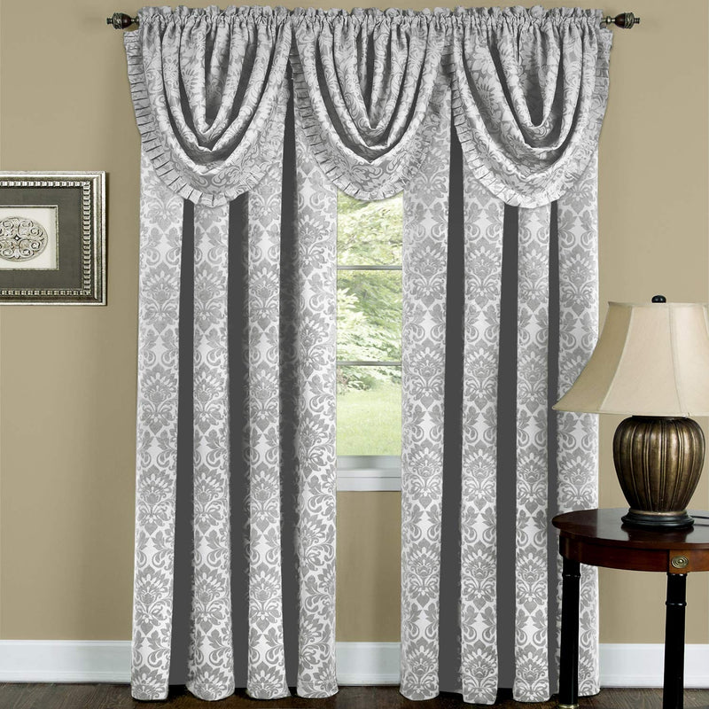Sutton Medallion Jacquard Rod Pocket Blackout Panel and Valance Treatments, Silver