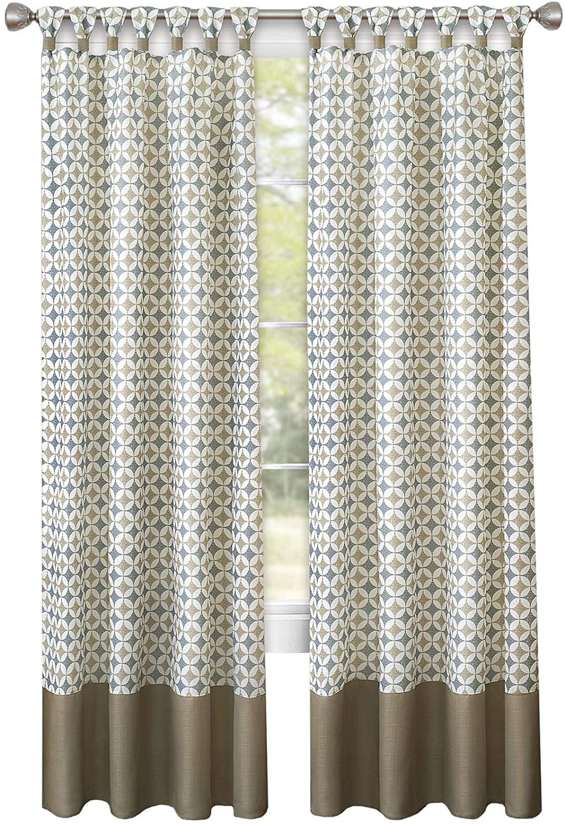 Callie Midnight Diamond Cuff Tab-Top Window Panel, Taupe-Silver, 52x84 Inches