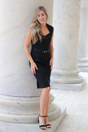 Professional belted black dress