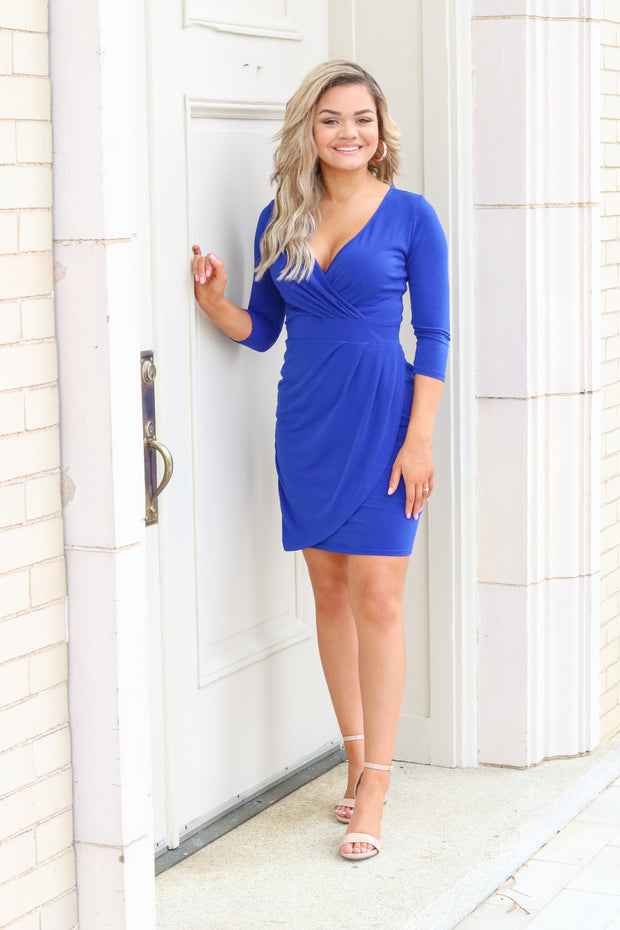 Runaway blue ruched v-neck dress