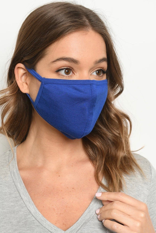 Washable Solid Face Mask in Blue