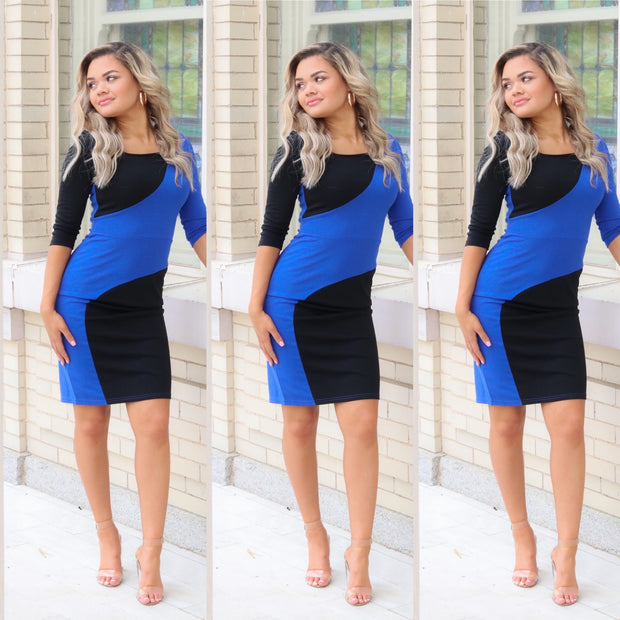 Three quarters black and blue color block dress
